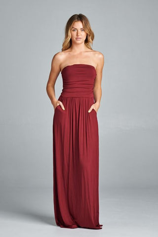 Simple and Stylish Maxi Dress - Wine - Blue Chic Boutique  - 1