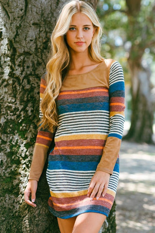 Sophisticated Stripes Dress - Taupe - Blue Chic Boutique  - 5