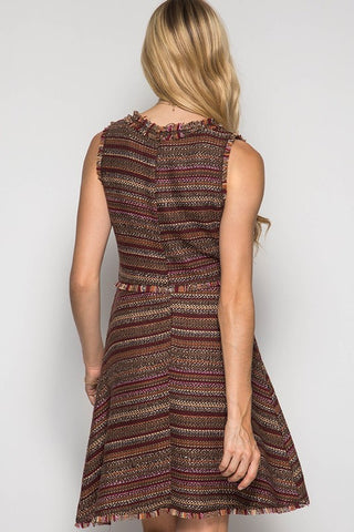 Fall Tweed Dress - Taupe - Blue Chic Boutique  - 2