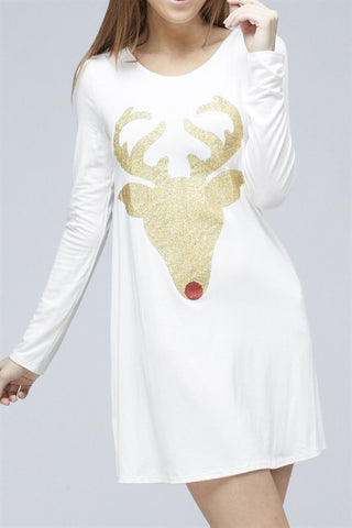 Glitter Reindeer Tunic - White - Kids sizes to 3XL - Blue Chic Boutique  - 7
