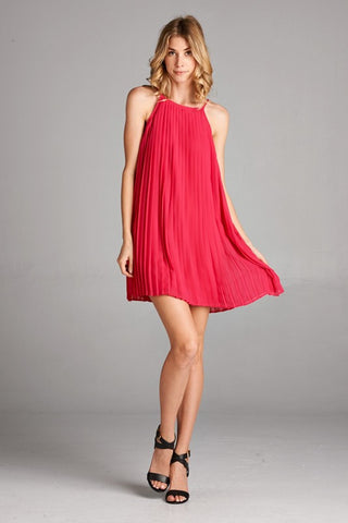 Guest of Honor Pleated Dress - Fuchsia - Blue Chic Boutique  - 1