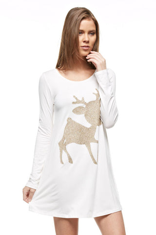 Glitter Rudolf the Reindeer Tunic Top - White - Kids sizes to 3XL - Blue Chic Boutique  - 3