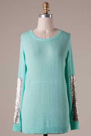 Sparkle and Shine Sequined Sleeved Sweater - Mint - Blue Chic Boutique  - 9
