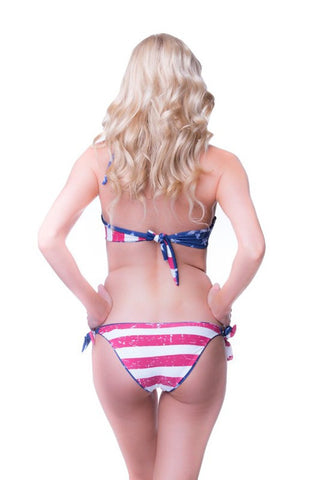 Red, White, and Blue Two Piece Reversable Bikini - Blue Chic Boutique  - 3