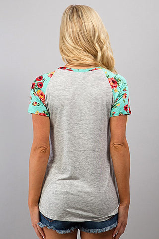 Floral Sleeve Top - Gray and Mint - Blue Chic Boutique  - 4