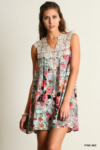Wild Flowers Dress - Pink Mix - Blue Chic Boutique  - 1