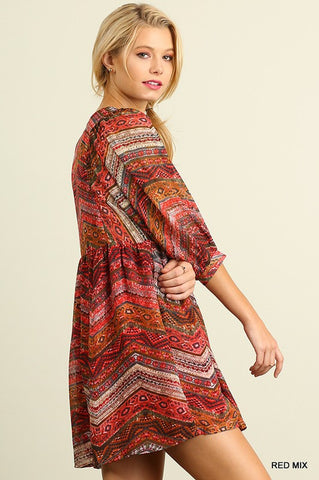 Fall Festival Dress - Red Mix - Blue Chic Boutique  - 3