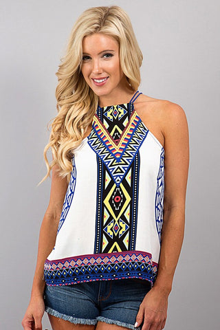 Summer Fling Halter Top - Ivory - Blue Chic Boutique  - 1