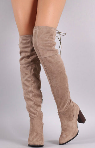 Over the Knee Lace Up Boots with Heel - Taupe - Blue Chic Boutique  - 2