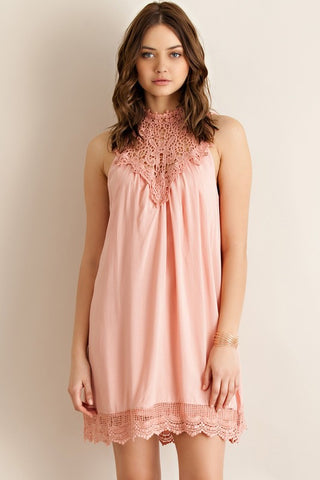 Martinis and Moonlight Lace Sleeveless Dress - Blush - Blue Chic Boutique  - 1