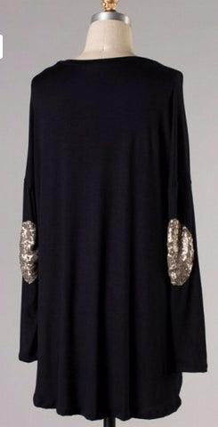 Top with Sequin Patches on Elbows - Black - Blue Chic Boutique  - 2