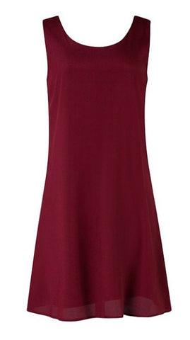 Chevron Sleeveless Bow Back Dress - Burgundy - Blue Chic Boutique  - 3