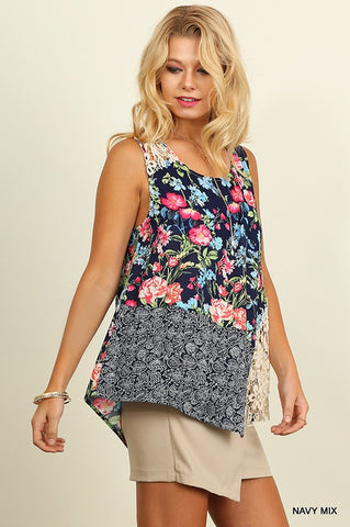 Floral Garden Tank Top - Navy Mix - Blue Chic Boutique  - 1