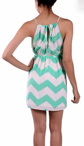 Mint and White Chevron Sleeveless Dress - Blue Chic Boutique  - 12