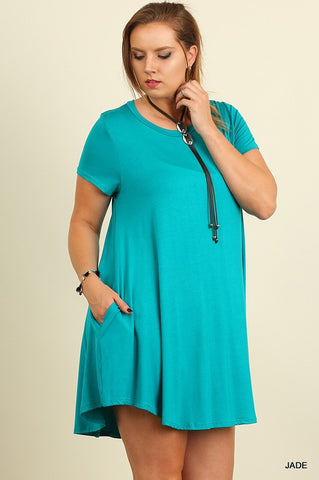 Solid Trapeze Plus Dress - Jade - Blue Chic Boutique  - 1