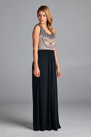 Abstract Maxi Dress - Black - Blue Chic Boutique  - 5