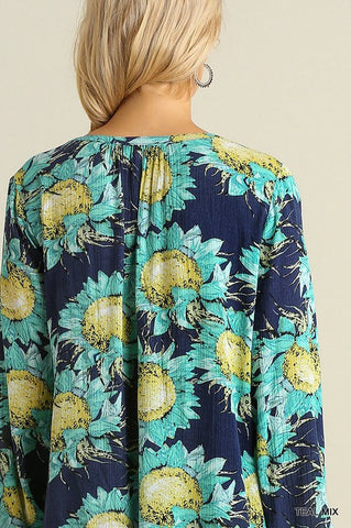 Sunflowers Dress - Teal - Blue Chic Boutique  - 4