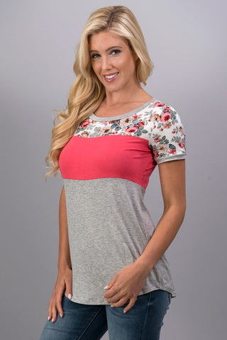 A Hint of Floral Top - Coral - Blue Chic Boutique  - 1