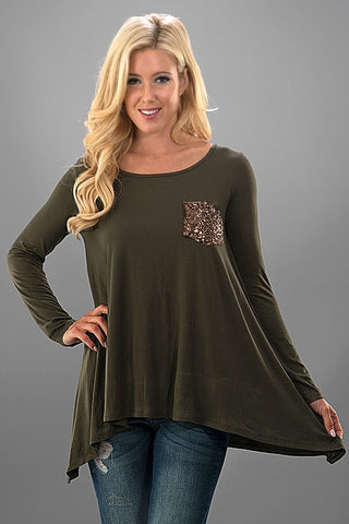 Flowy Sequined Pocket Top - Olive - Blue Chic Boutique  - 2
