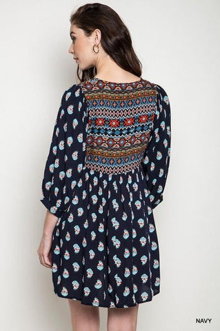 Boho Baby Doll Tunic - Navy - Blue Chic Boutique  - 5