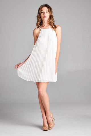 Guest of Honor Pleated Dress - White - Blue Chic Boutique  - 1