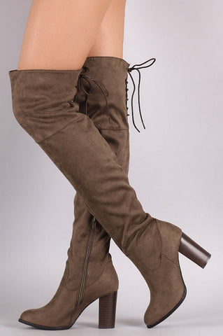 Over the Knee Lace Up Boots with Heel - Brown - Blue Chic Boutique  - 1
