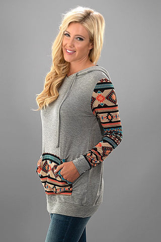 Absrtact Print Hoodie - Grey - Blue Chic Boutique  - 3