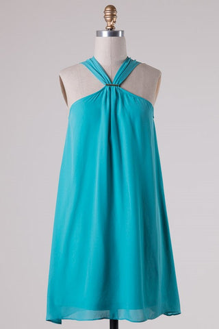 South of the Border Halter Dress - Dark Mint - Blue Chic Boutique  - 2