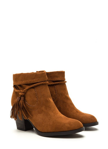 Tassle Booties - Rust - Blue Chic Boutique