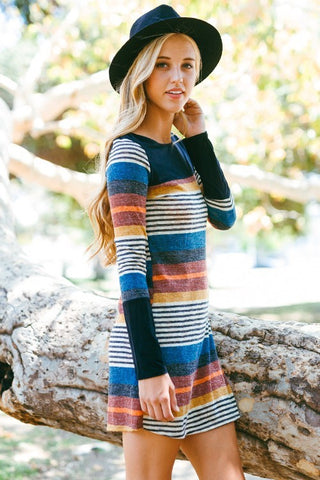 Sophisticated Stripes Dress - Taupe - Blue Chic Boutique  - 11