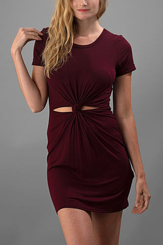 A Little Bit Knotty Dress - Burgundy - Blue Chic Boutique  - 1