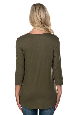 Criss Cross 3/4 Sleeve Top - Olive - Blue Chic Boutique  - 5