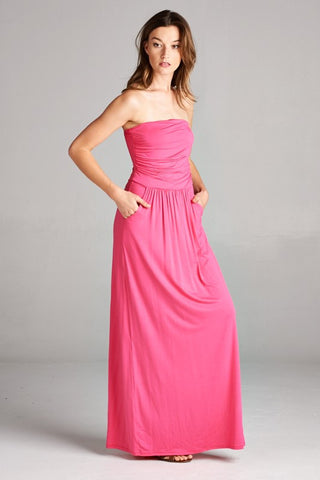 Simple and Stylish Maxi Dress - Fuchsia - Blue Chic Boutique  - 1