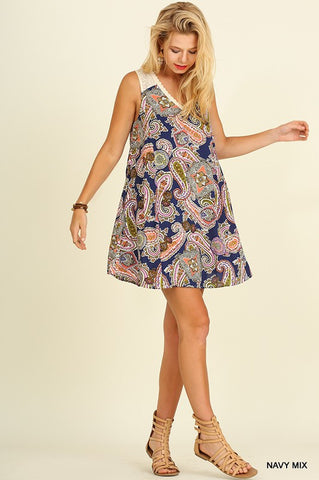 The Livin' is Easy Paisley Dress - Navy Mix - Blue Chic Boutique  - 1