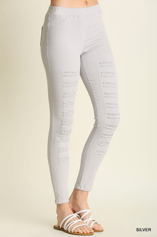 Distressed Leggings - Silver - Blue Chic Boutique  - 1