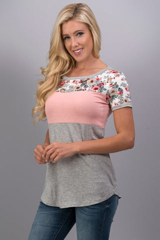 A Hint of Floral Top - Light Peach - Blue Chic Boutique  - 2