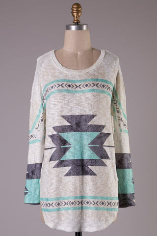 Aztec Print Tunic - Taupe and Mint - Blue Chic Boutique  - 1