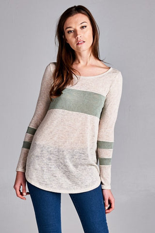 Lightweight Striped Top - Sage - Blue Chic Boutique  - 1