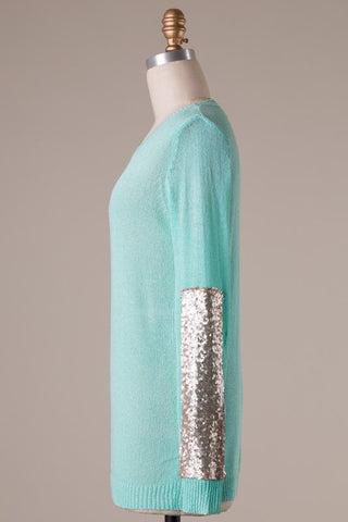 Sparkle and Shine Sequined Sleeved Sweater - Mint - Blue Chic Boutique  - 10