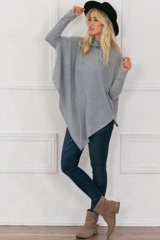 Soft Grey Poncho - Blue Chic Boutique  - 1