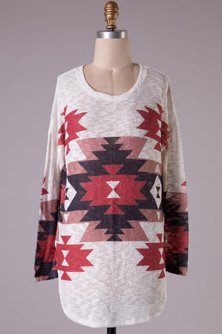 Aztec Tunic Sweater - Burgundy - Blue Chic Boutique  - 1