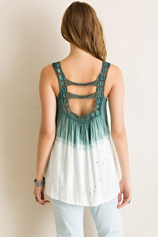 Dip Dyed Tank Top - Ivory and Green - Blue Chic Boutique  - 2