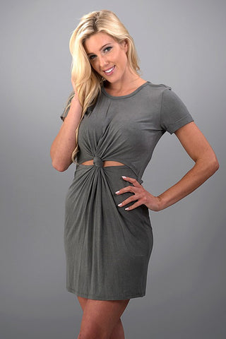 A Little Bit Knotty Dress - Charcoal - Blue Chic Boutique  - 2