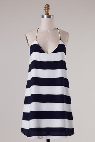 Striped Racer Back Dress - Navy - Blue Chic Boutique  - 5