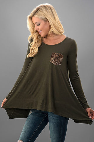 Flowy Sequined Pocket Top - Olive - Blue Chic Boutique  - 1
