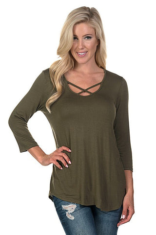 Criss Cross 3/4 Sleeve Top - Olive - Blue Chic Boutique  - 3