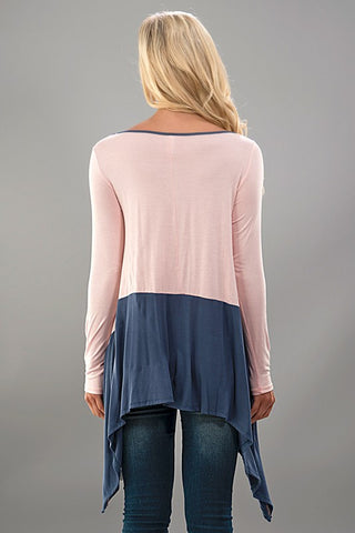 Color Block Tunic - Gray and Pink - Blue Chic Boutique  - 3