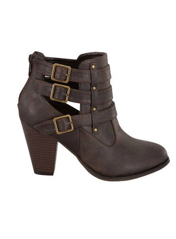 Buckle Ankle Boots - Brown - Blue Chic Boutique  - 1