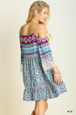 Music Fest Open Shoulder Dress - Blue - Blue Chic Boutique  - 4