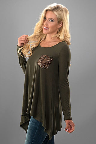 Flowy Sequined Pocket Top - Olive - Blue Chic Boutique  - 3